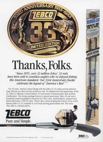 Zebco Fishing Pole Print Advertisement - Vintage Fisherman's Gift - Living Room Wall Art