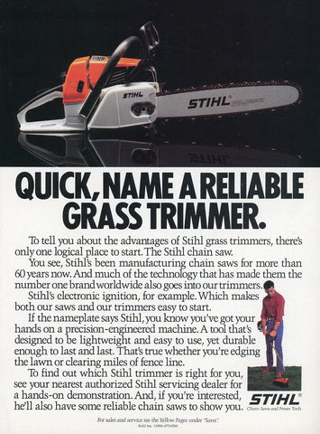 Stihl Chainsaw Print Advertisement - Outdoor Equipment Decor - Man Cave Wall Hanging
