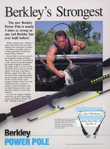 Berkley Fishing Pole Print Advertisement - Fishing Enthusiast Gift Art - Man Cave Decor