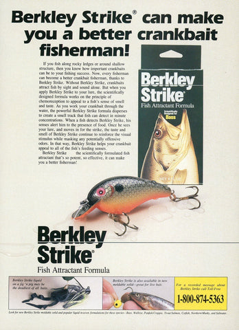 Berkley Strike Fish Attractant Print Advertisement - Fishing Enthusiast Gift Art - Birthday Gift