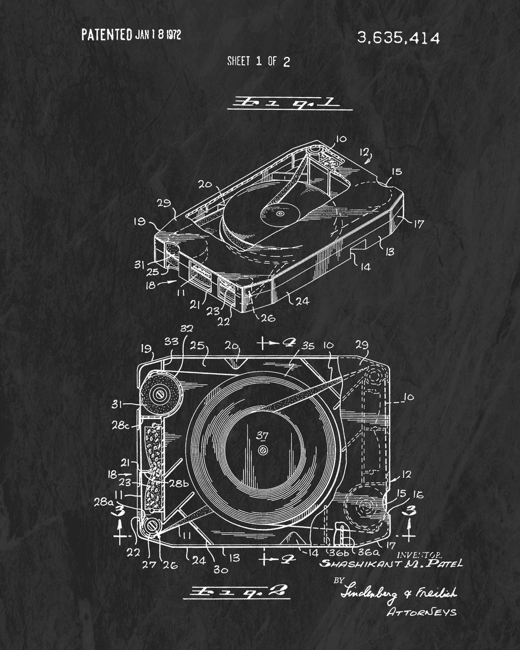 1972 8-Track Tape Patent Art Print (Original Title)
