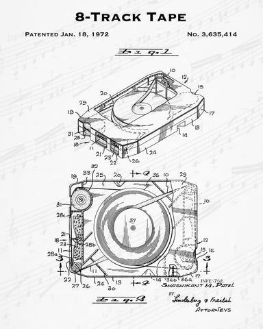 1972 8-Track Tape Patent - 8X10 Digital Download Patent