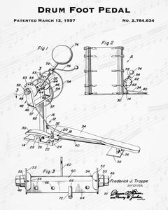 1957 Drum Foot Pedal Patent - 8X10 Digital Download Patent