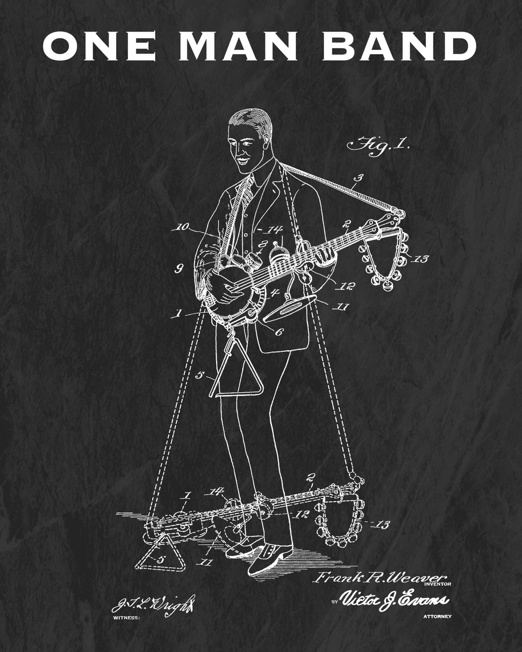 One Man Band Patent Art Print