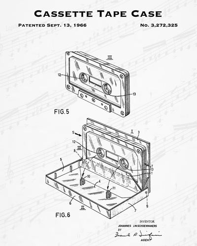1966 Cassette Tape Case Patent - 8X10 Digital Download Patent