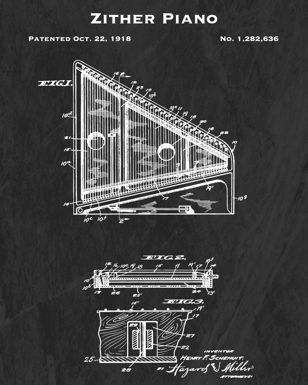1918 Zither Piano Patent Art Print