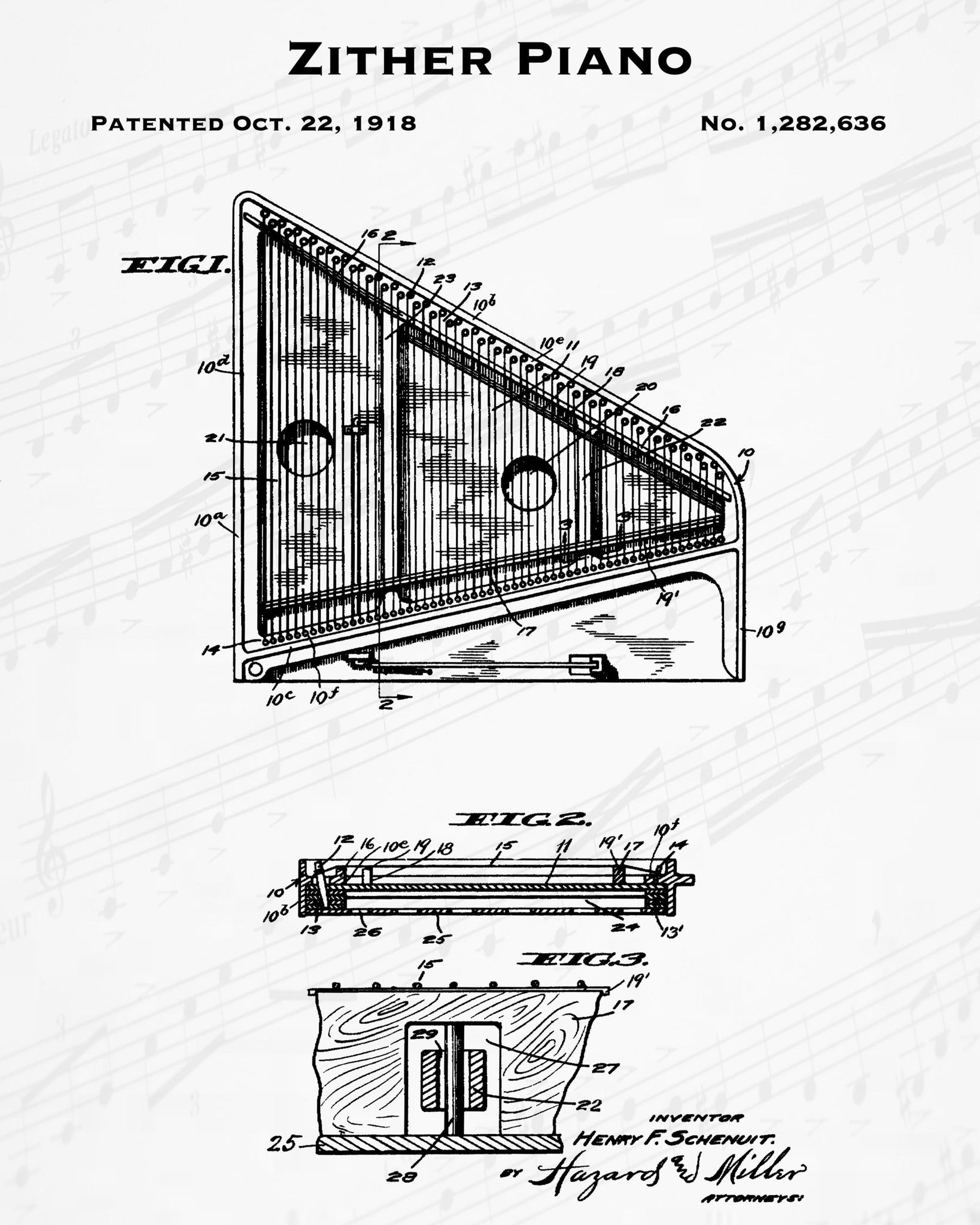 1918 Zither Piano Patent - 8X10 Digital Download Patent