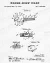 1912 Combs Jews' Harp Patent - 8X10 Digital Download Patent