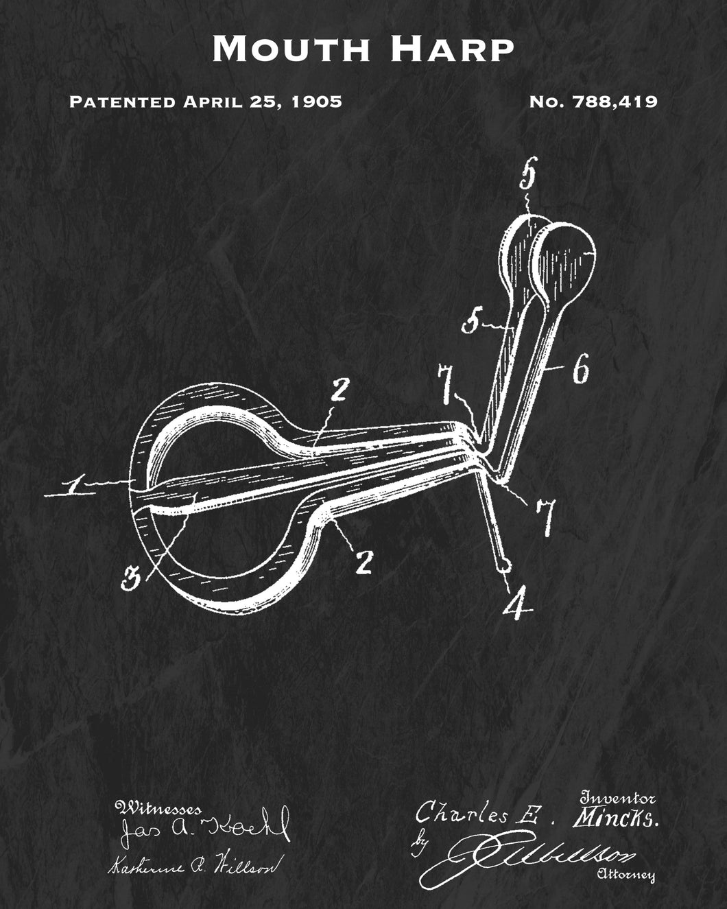 1905 Mouth Harp Patent Art Print