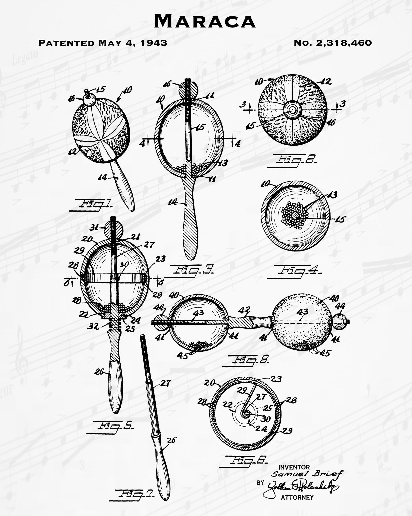 1943 Maraca Patent - 8X10 Digital Download Patent