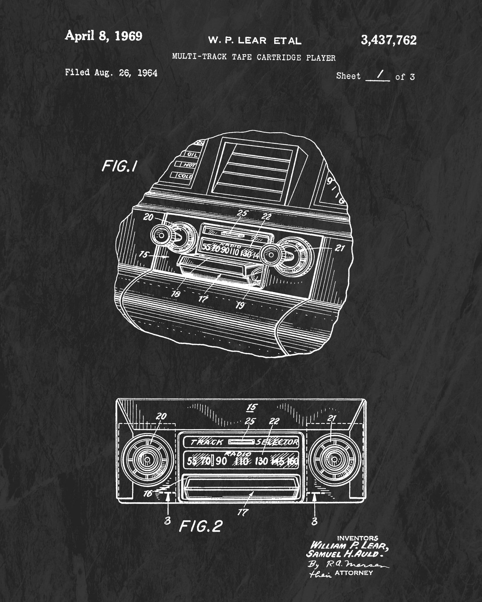 1969 8-Track Car Stereo Patent Art Print (Original Title)