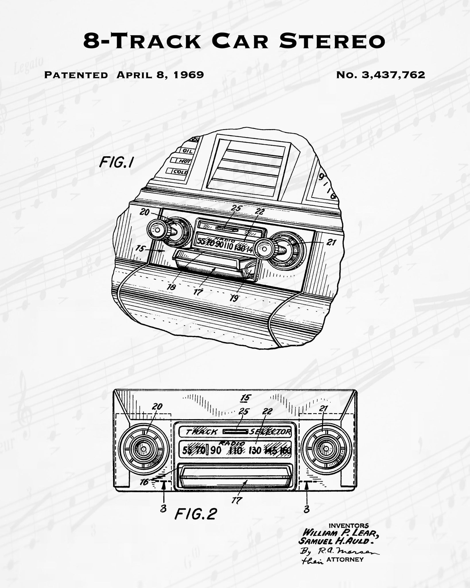 1969 8-Track Car Stereo Patent - 8X10 Digital Download Patent