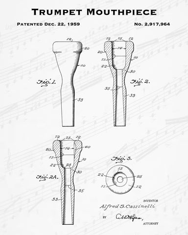 1959 Trumpet Mouthpiece Patent - 8X10 Digital Download Patent
