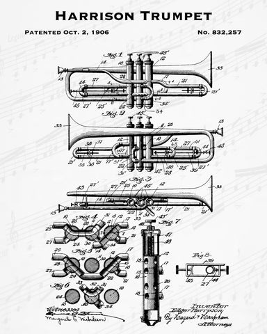 1906 Harrison Trumpet Patent - 8X10 Digital Download Patent
