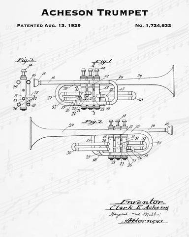 1929 Acheson Trumpet Patent - 8X10 Digital Download Patent