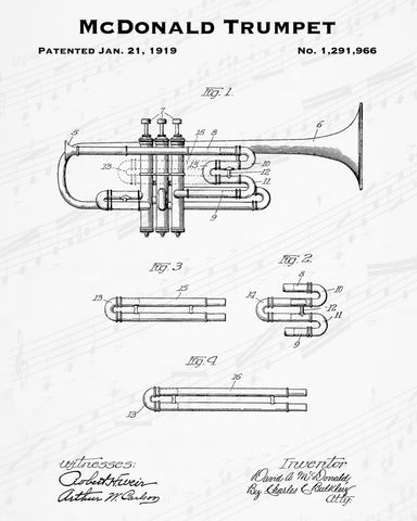 1919 McDonald Trumpet Patent - 8X10 Digital Download Patent