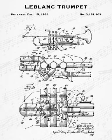 1964 Leblanc Trumpet Patent - 8X10 Digital Download Patent