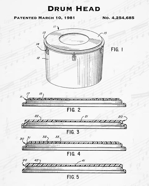 1981 Drum Head Patent - 8X10 Digital Download Patent