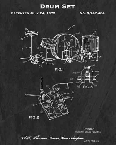 1973 Drum Set Patent Art Print