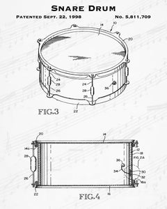 1998 Snare Drum Patent - 8X10 Digital Download Patent