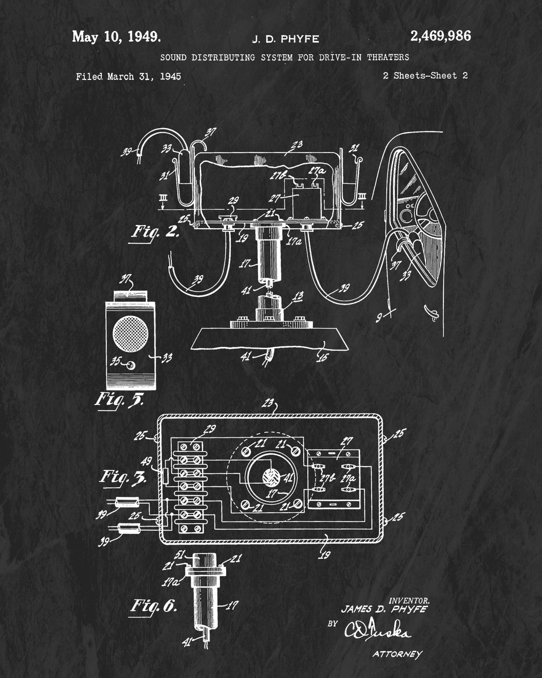 1949 Drive-In Car Speaker Patent Art Print (Original Title)