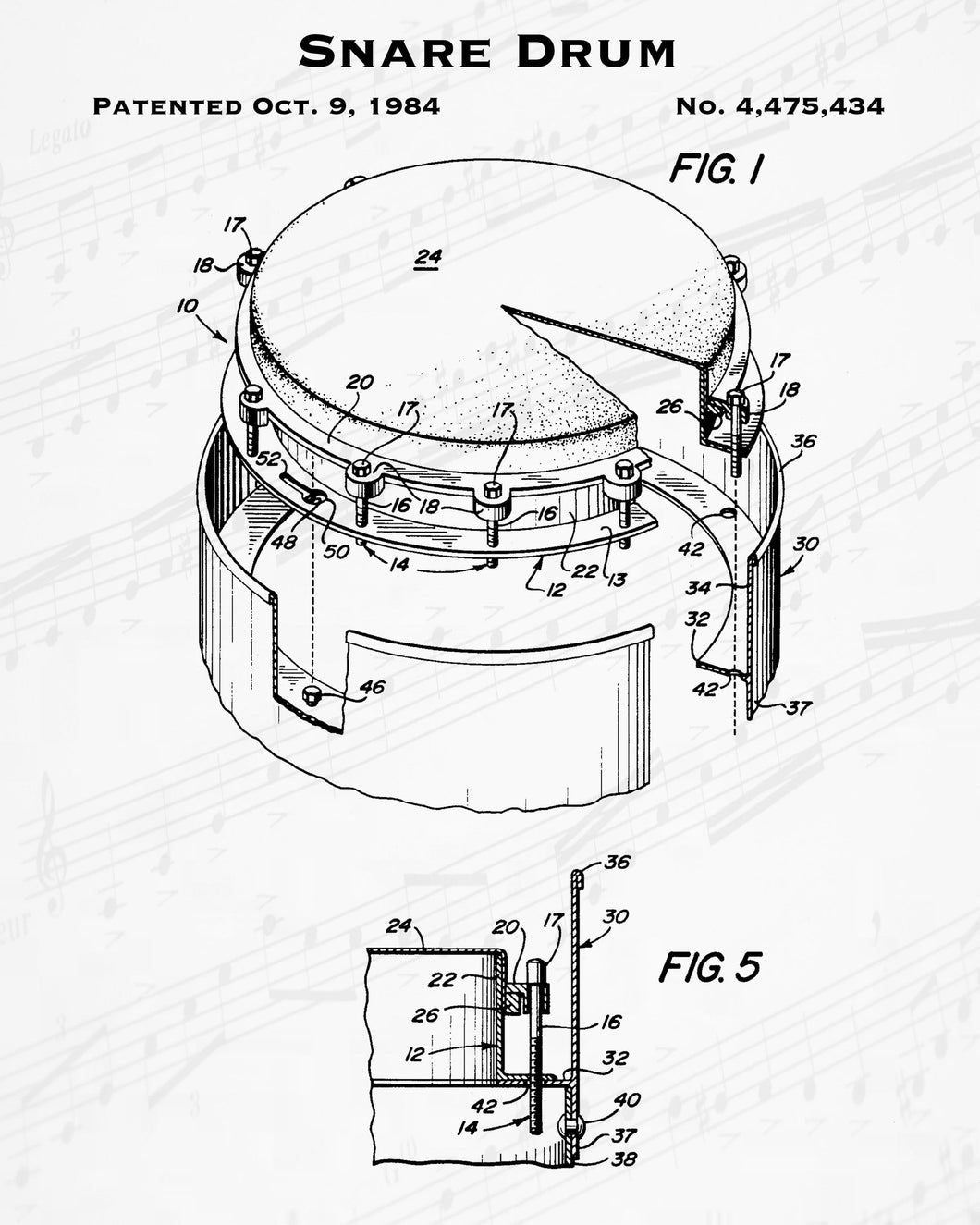 1984 Snare Drum Patent - 8X10 Digital Download Patent