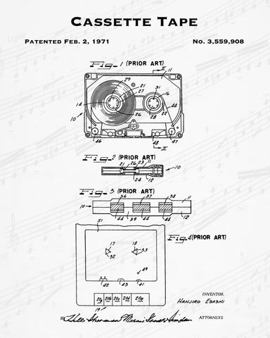 1971 Cassette Tape Patent - 8X10 Digital Download Patent