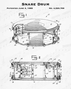 1985 Snare Drum Patent - 8X10 Digital Download Patent