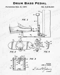 1971 Drum Bass Pedal Patent - 8X10 Digital Download Patent