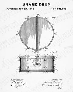 1912 Snare Drum Patent - 8X10 Digital Download Patent