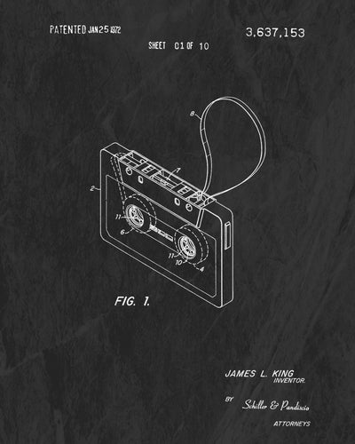 1972 Cassette Tape Patent Art Print (Original Title)