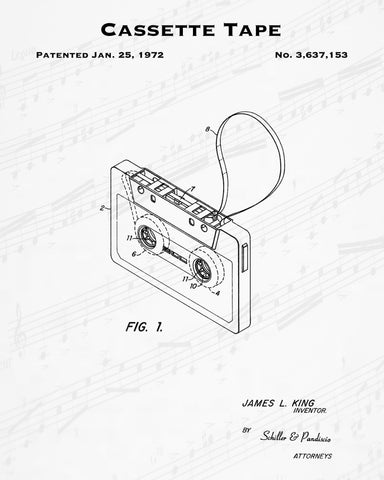 1972 Cassette Tape Patent - 8X10 Digital Download Patent