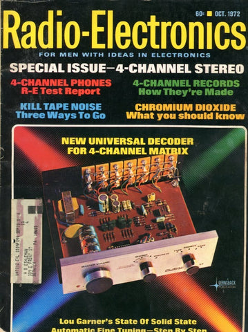 Radio Electronics October 1972 Magazine Back Issue - Vintage Electronics Collectable - Stereo Memorabilia