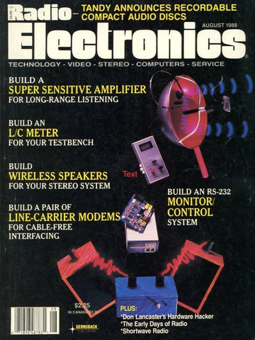 Radio Electronics August 1988 Magazine Back Issue - Vintage Electronics Collectable - Amplifier Memorabilia