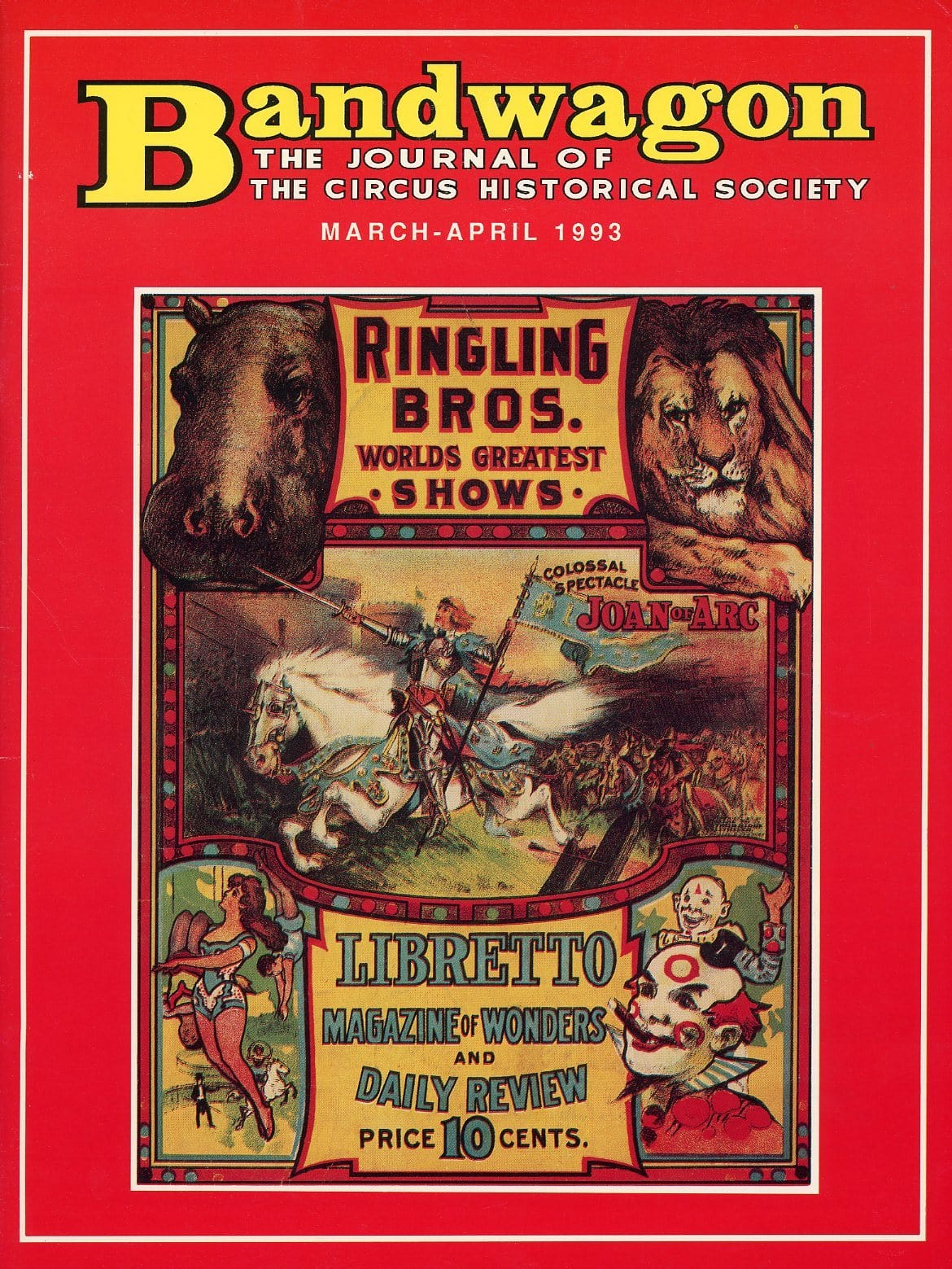 Bandwagon Magazine Back Issue - March/April 1993 - Circus Memorabilia