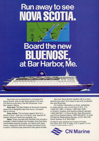 1980's CN Marine Cruise Line Advertisement - Vacation House Wall Hanging - Retirement Home Decor