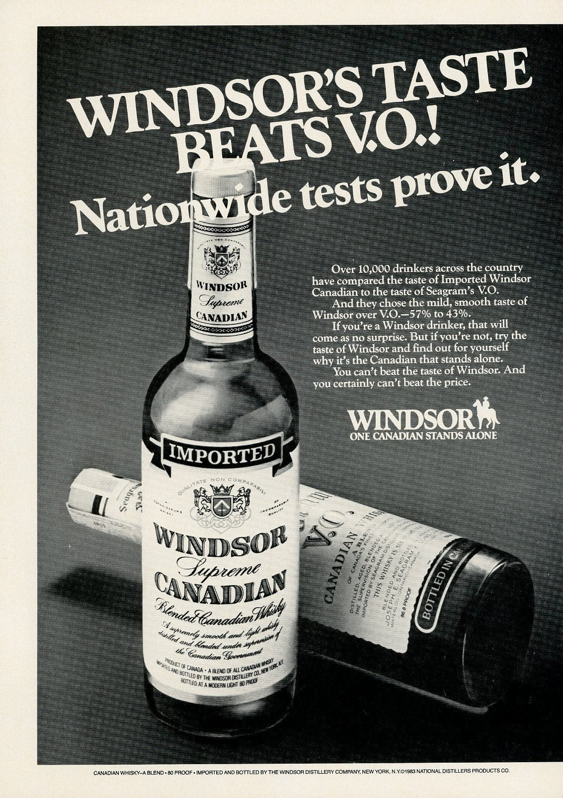 1980's Windsor Canadian Whiskey Advertisement - Bar Room Decor - Gift For Him