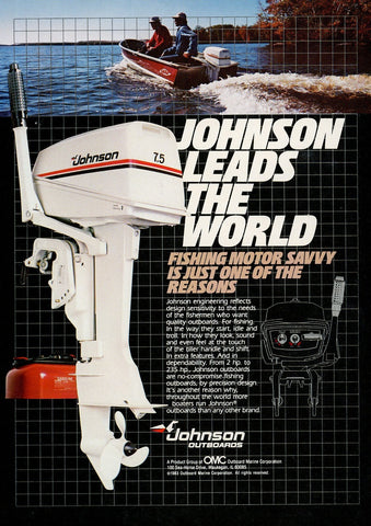 1980's Johnson Outboard Motor Advertisement - Man Cave Wall Decor - Boating Enthusiast Gift Art