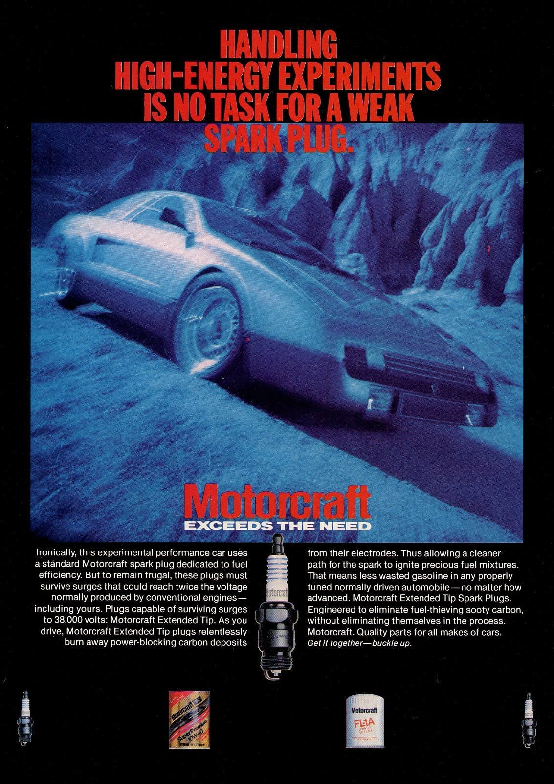 1980's Motorcraft Spark Plugs Advertisement - Car Collector Gift - Man Cave Wall Decor