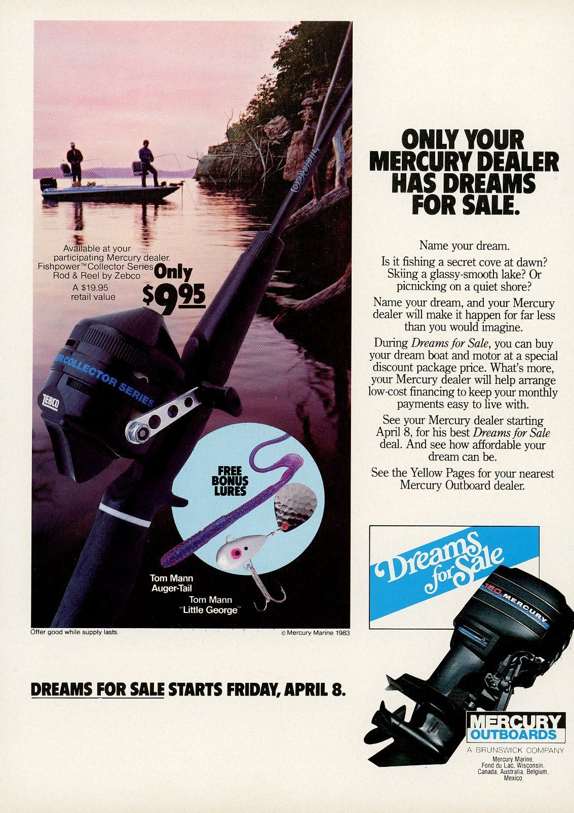 1980's Mercury Outboard Motors Advertisement - Gift For Fisherman - Man Cave Wall Decor