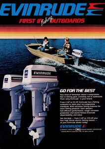 1980's Evinrude Outboard Motors Advertisement - Camp House Decor - Gift For Fisherman