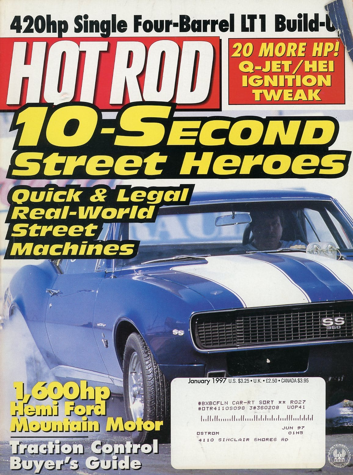 Hot Rod January 1997 Magazine Back Issue - Car Collector Gift