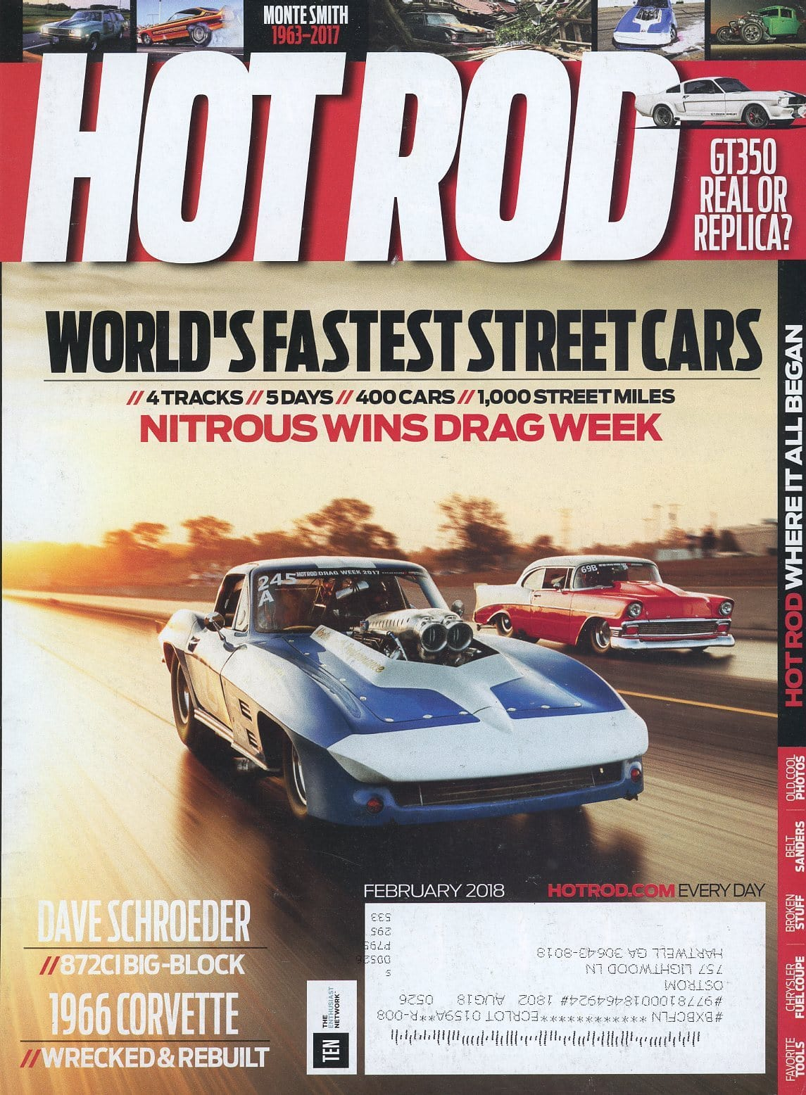 Hot Rod February 2018 Magazine Back Issue - Car Collector Gift