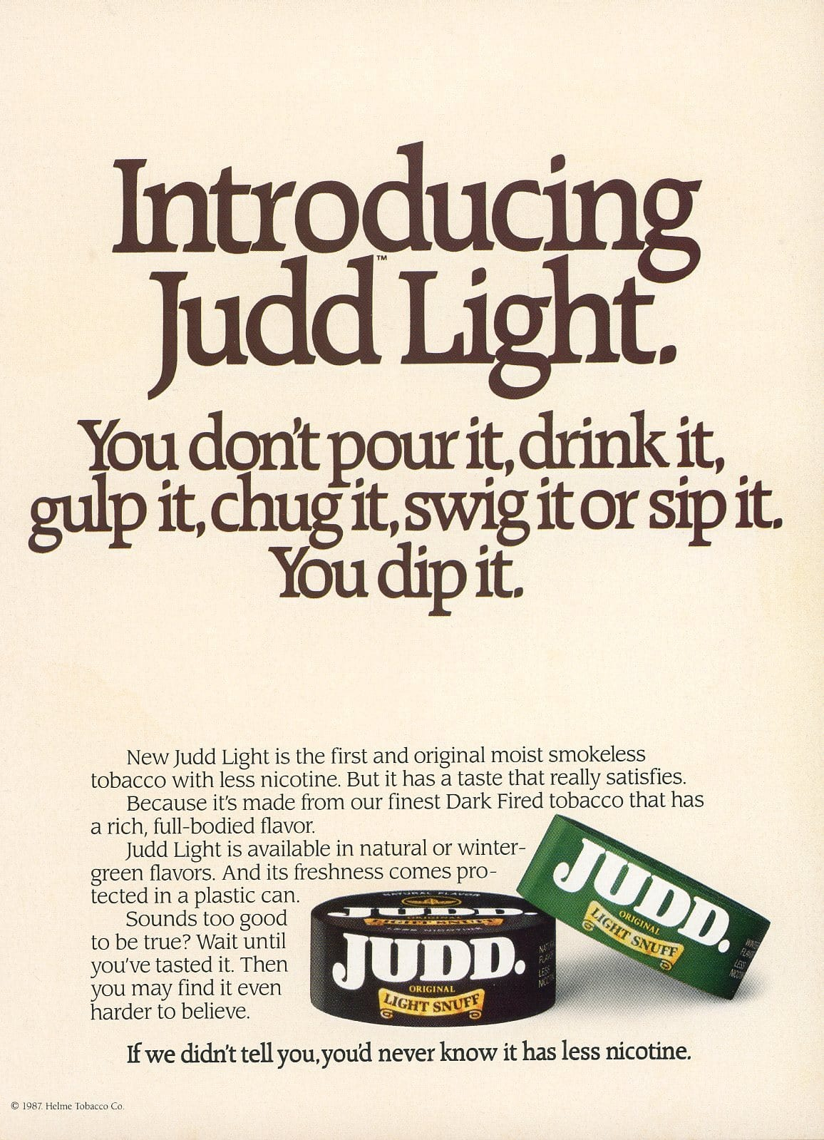 1980's Judd Light Snuff Tobacco Advertisement - Tobacciana Print Ad - Gift For Smoker