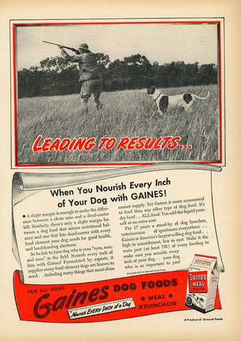 1940's Gaines Dog Food Advertisement - Animal Lover Gift - Vintage Pet Decor
