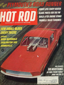 Hot Rod November 1967 Magazine Back Issue - Car Collector Gift