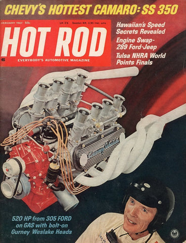 Hot Rod January 1967 Magazine Back Issue - Car Collector Gift