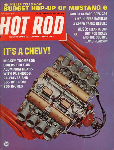 Hot Rod June 1967 Magazine Back Issue - Car Collector Gift