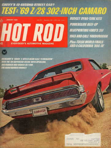 Hot Rod January 1969 Magazine Back Issue - Vintage Car Enthusiast Gift - Camaro Memorabilia