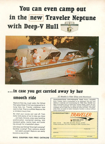 1970's Traveler Deep-V Hull Boat Advertisement - Boating Enthusiast Gift - Summer Home Decor